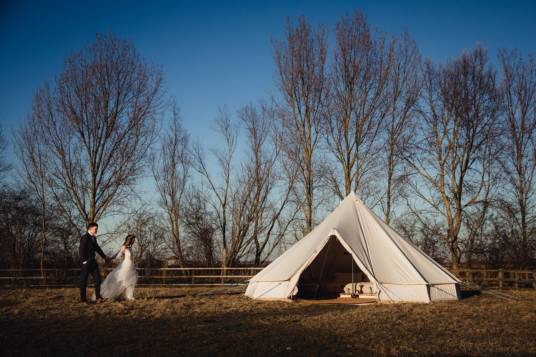 Bride and Groom glamping