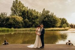 Bride and Groom at lakeside