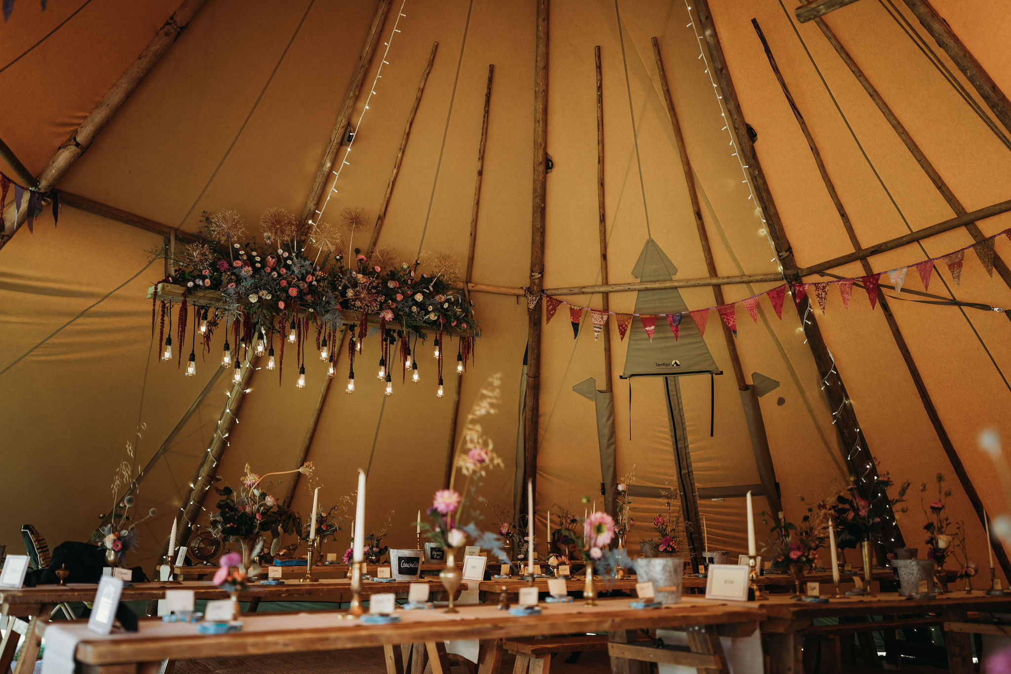 Inside wedding tipi