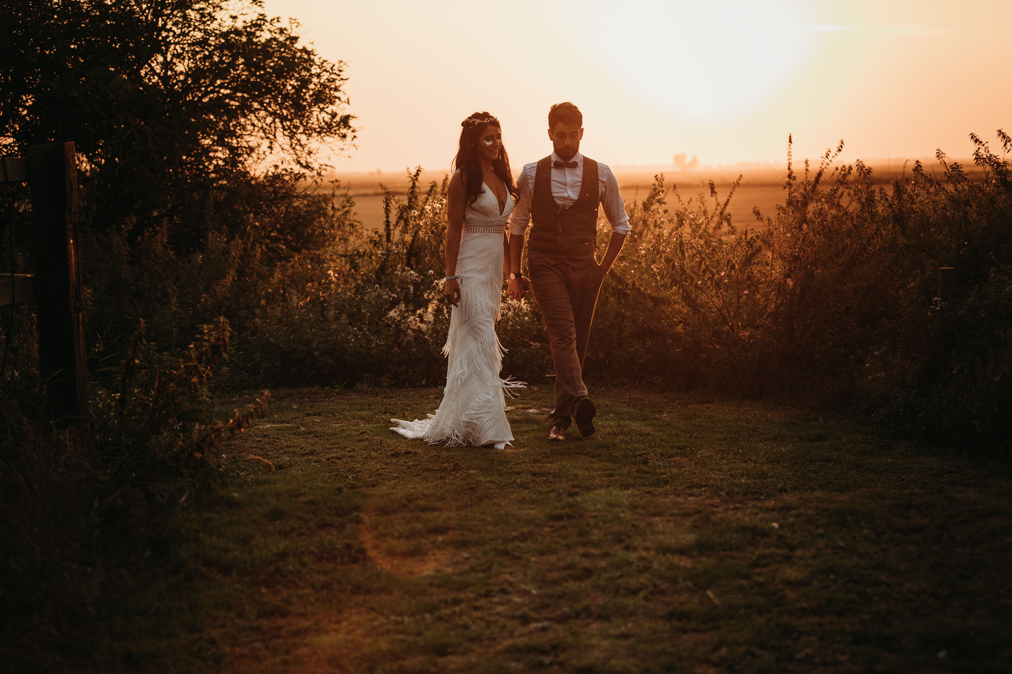 Wedding sunset over fens
