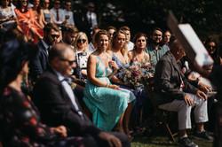 Lakeside wedding guests