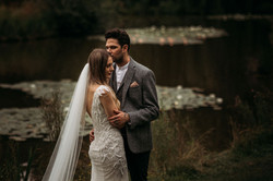 Bride and Groom with waterlilies