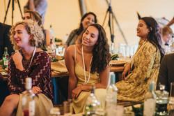Guests enjoying wedding speeches