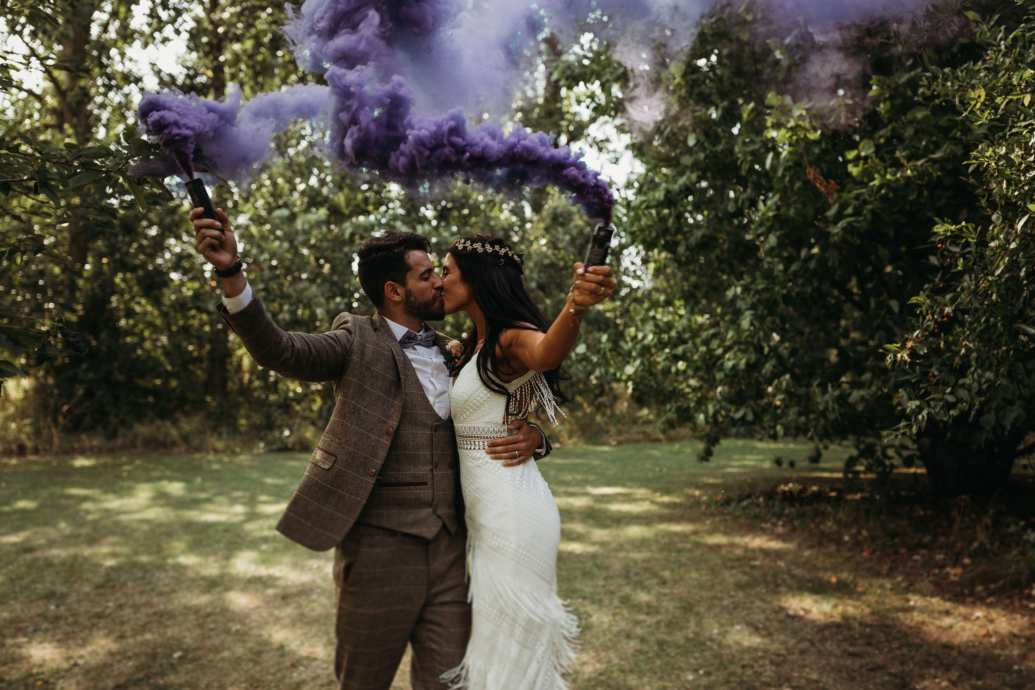 Bride and Groom with smoke