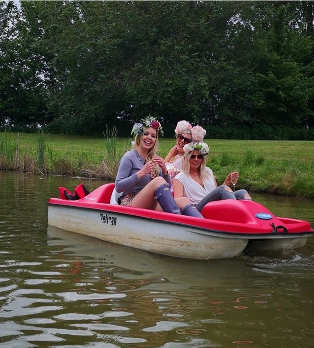 Bride and Hens on pedalo