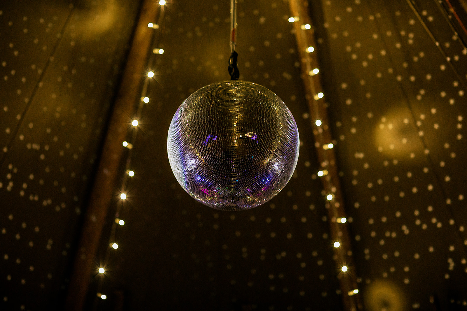 Glitter ball in wedding tipi