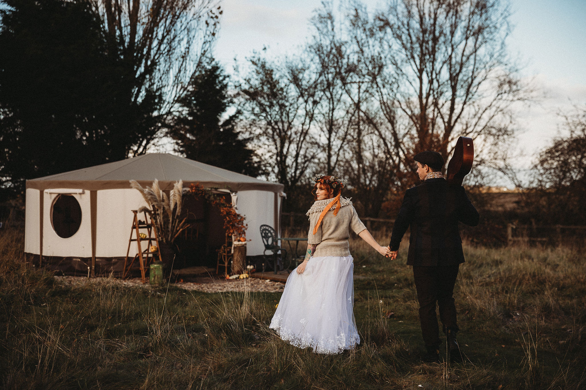 Bride and Groom with yurt