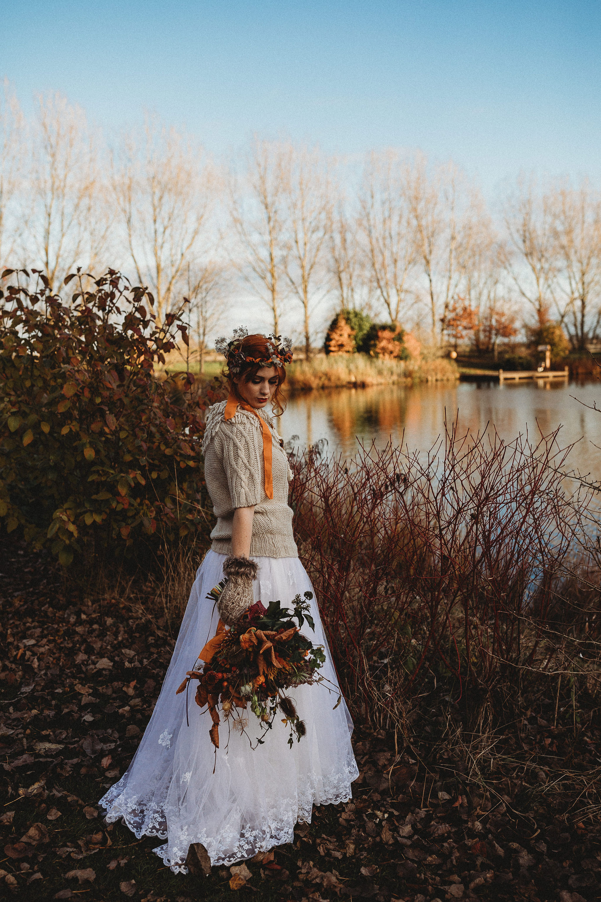 Autumn Bride by lake