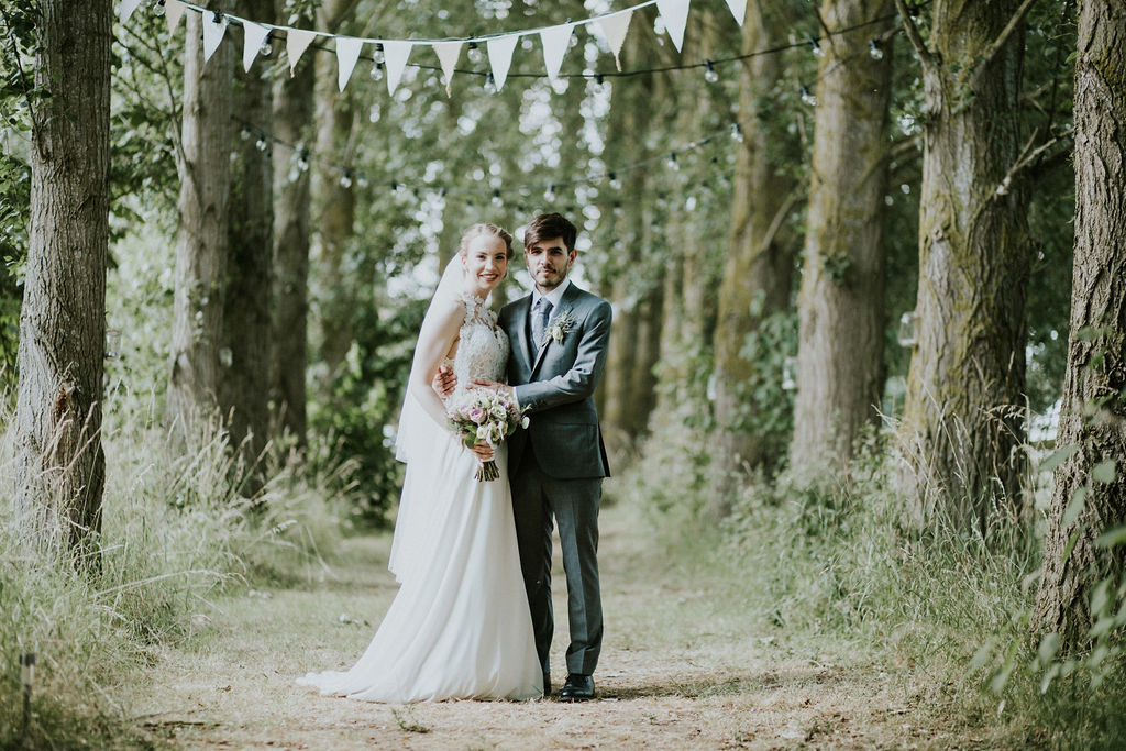 Bride and Groom in avenue