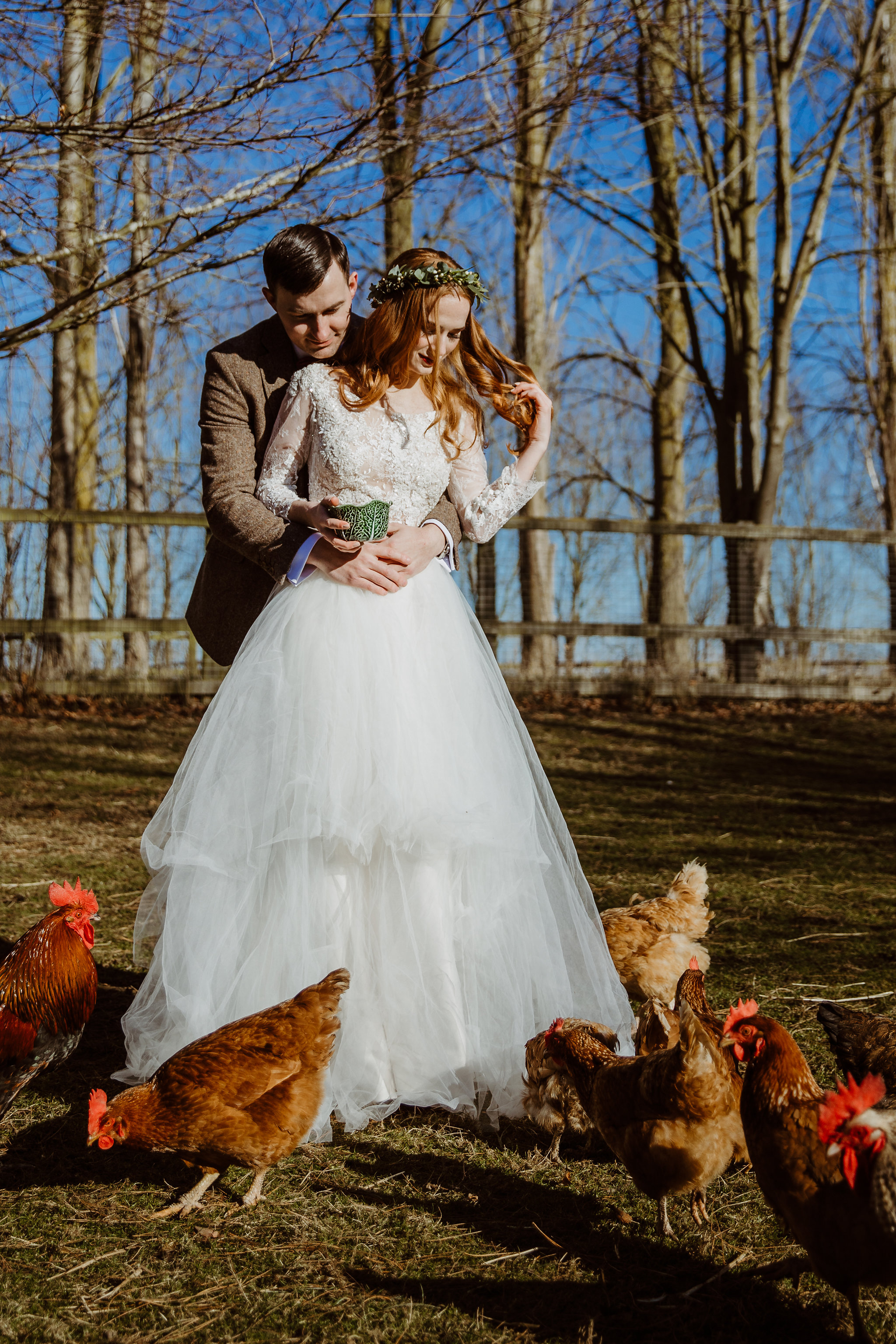 Bride and Groom with chickens