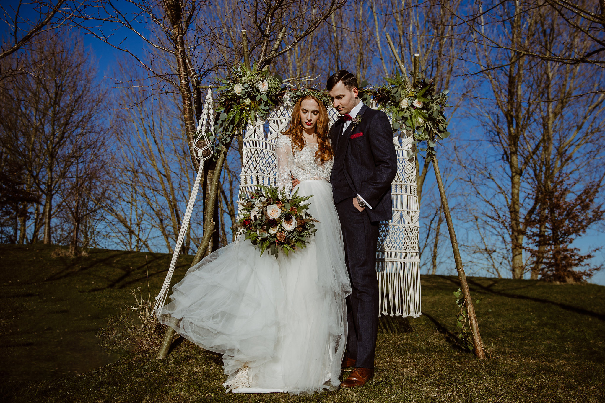 Winter lakeside wedding