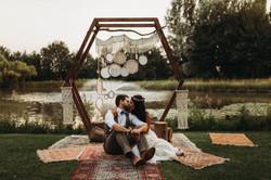 Festival wedding by lake