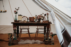 Wedding table in bell tent