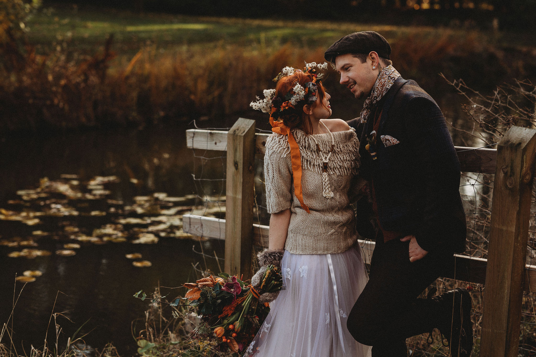 Autumnal Bride and Groom by lake