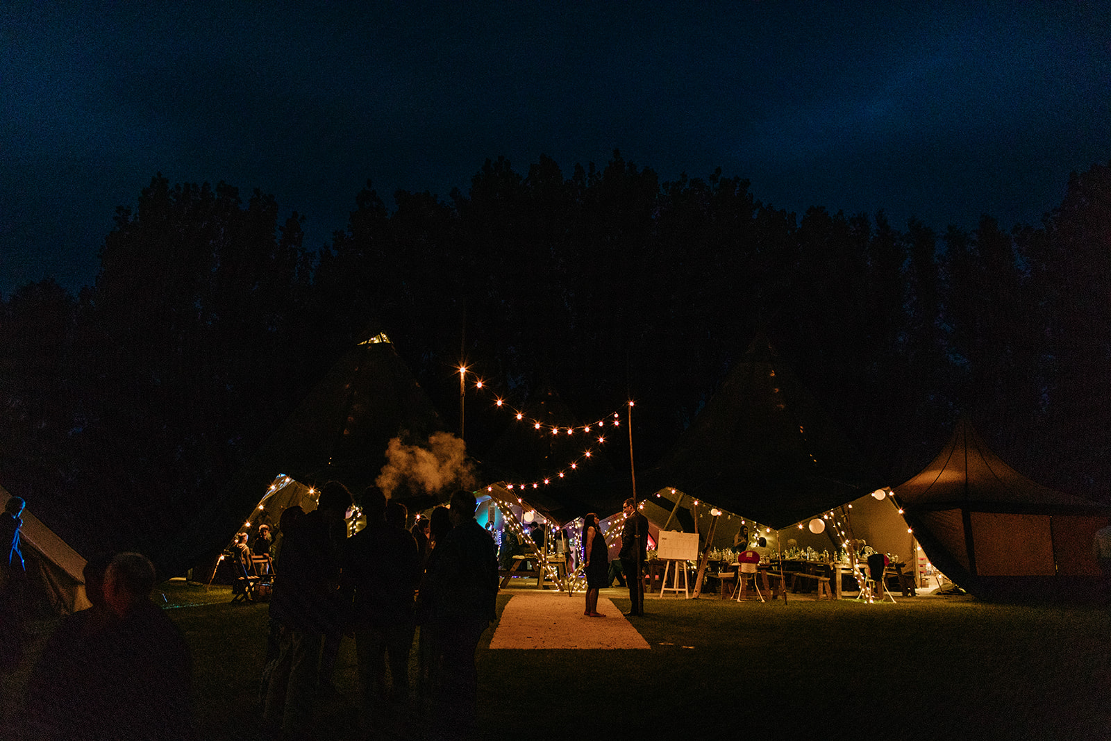 Wedding tipi at night