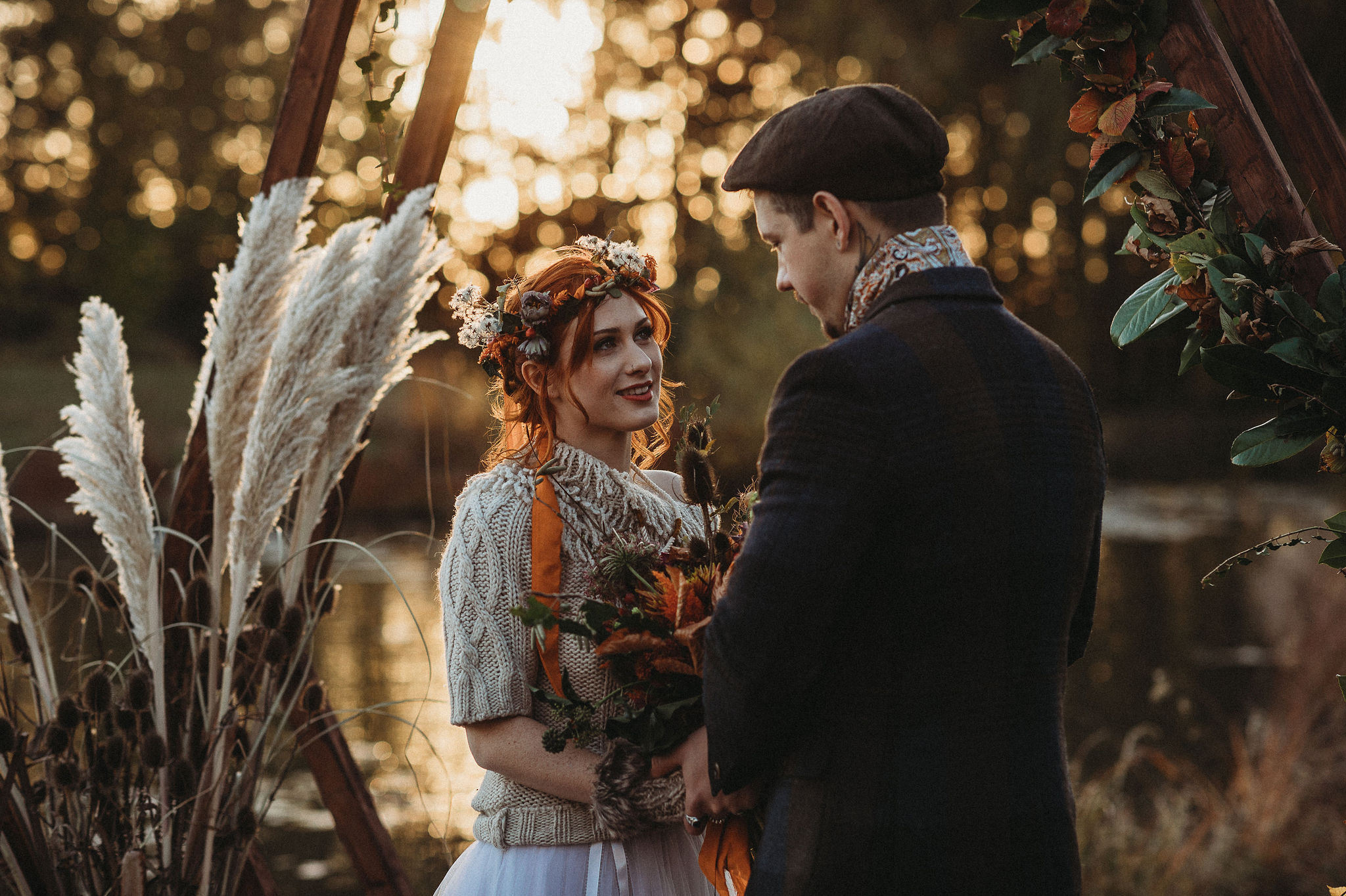 Autumn wedding by lake