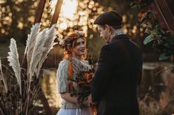 Autumn wedding by lake