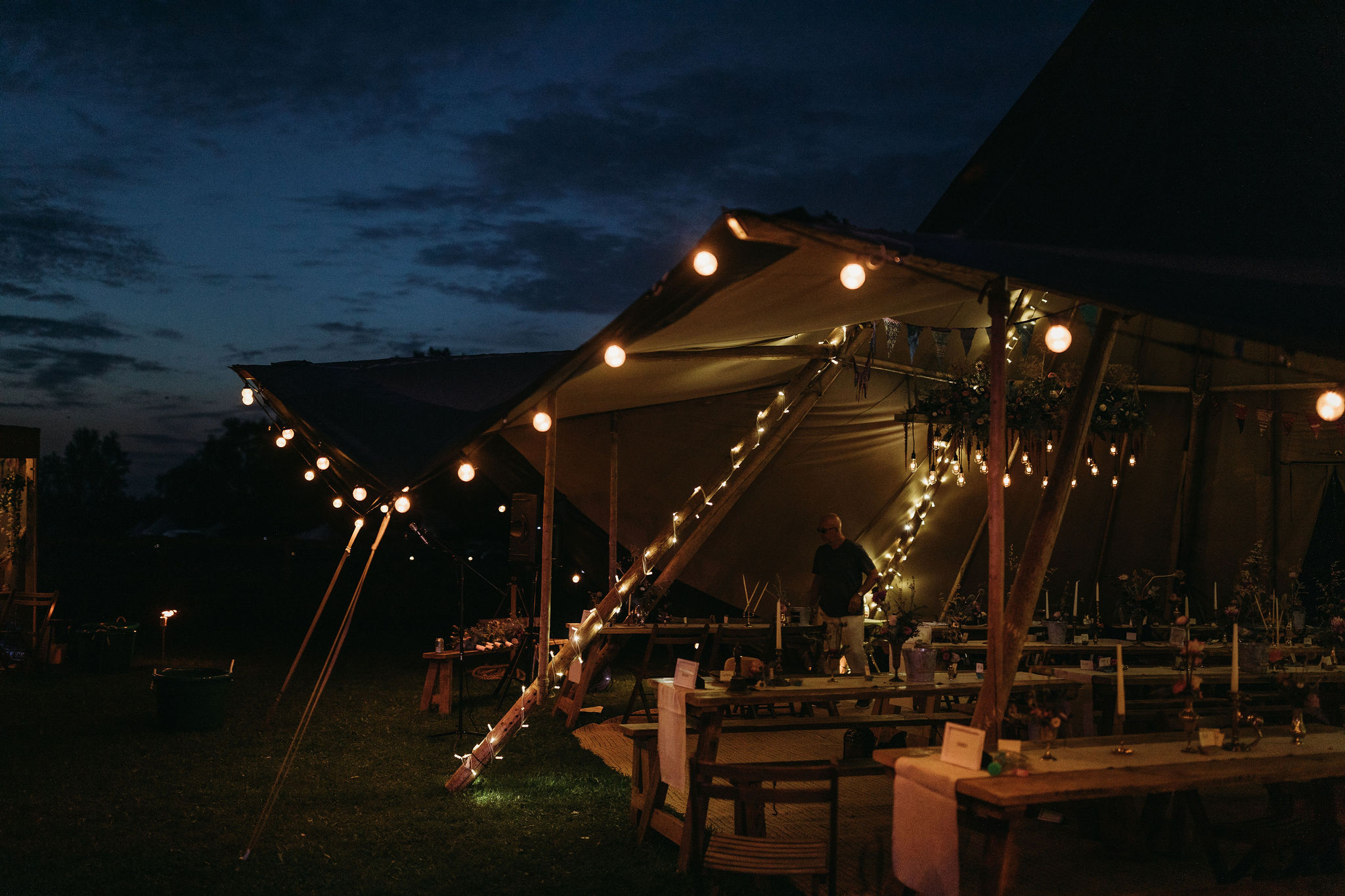 Wedding tipi at nighttime