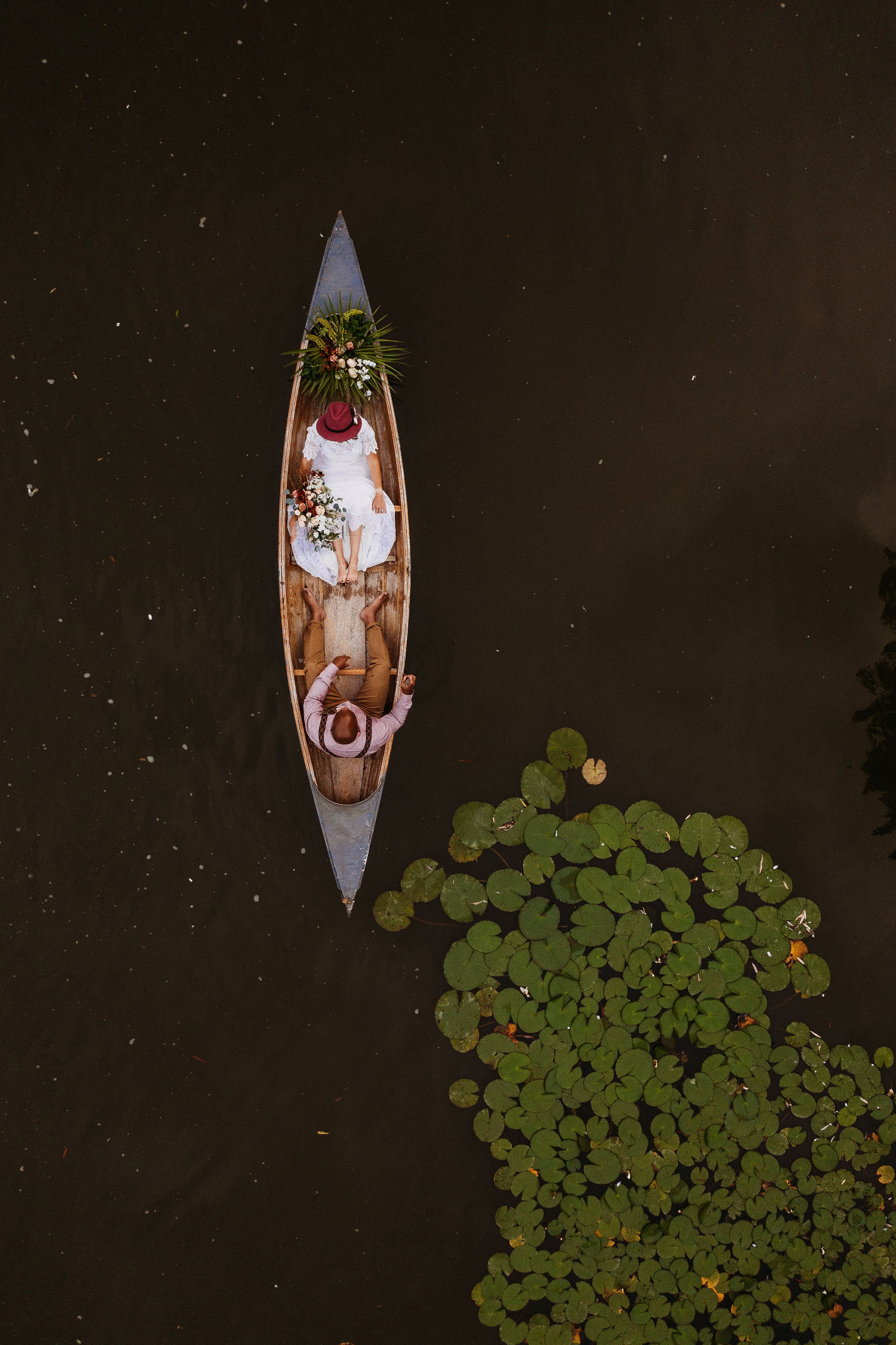 Canoe and Water Lilies