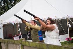 Bride and Groom Laser Clay Shooting