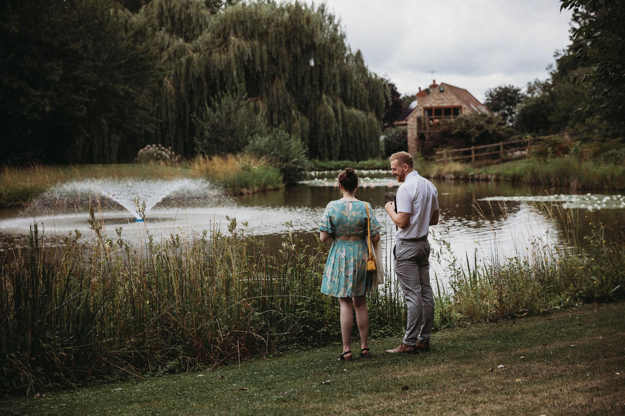 Wedding guests enjoying the lake
