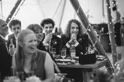Wedding guests in tipi