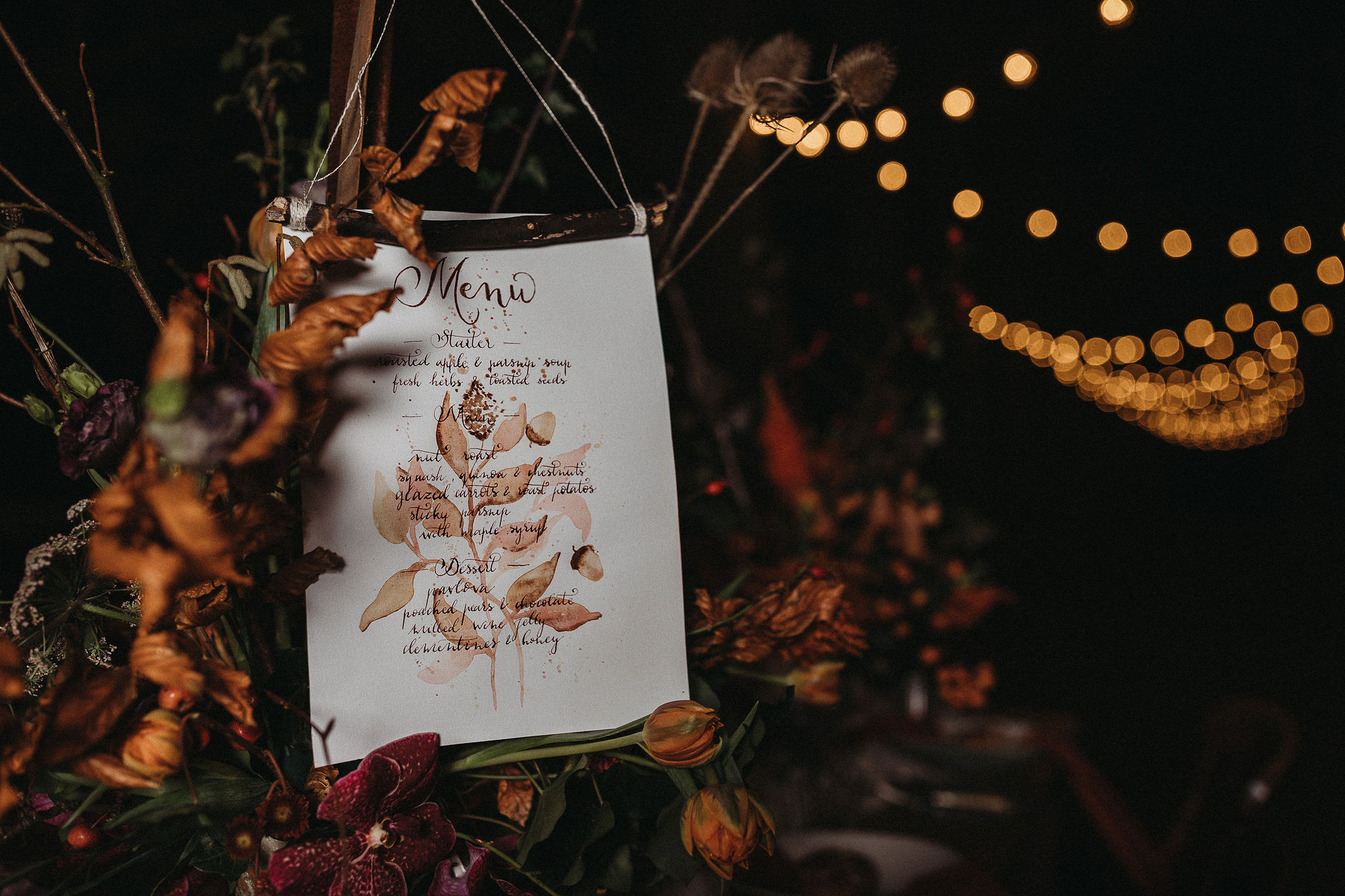 Autumnal wedding menu