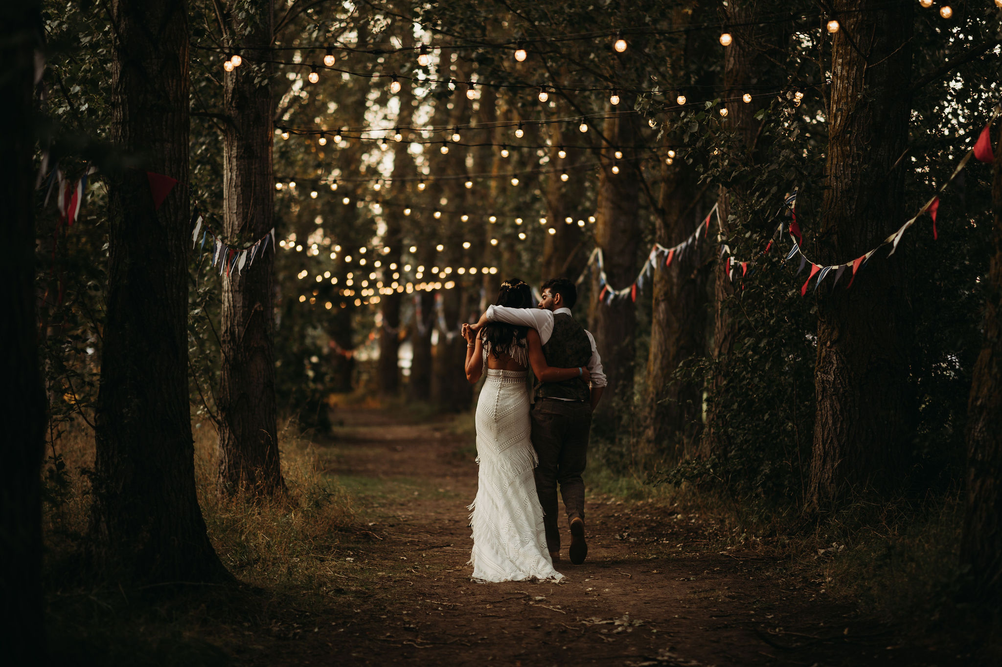 Bride and Groom in festoon walkway