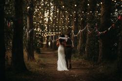 Bride and Groom in festoon walkway