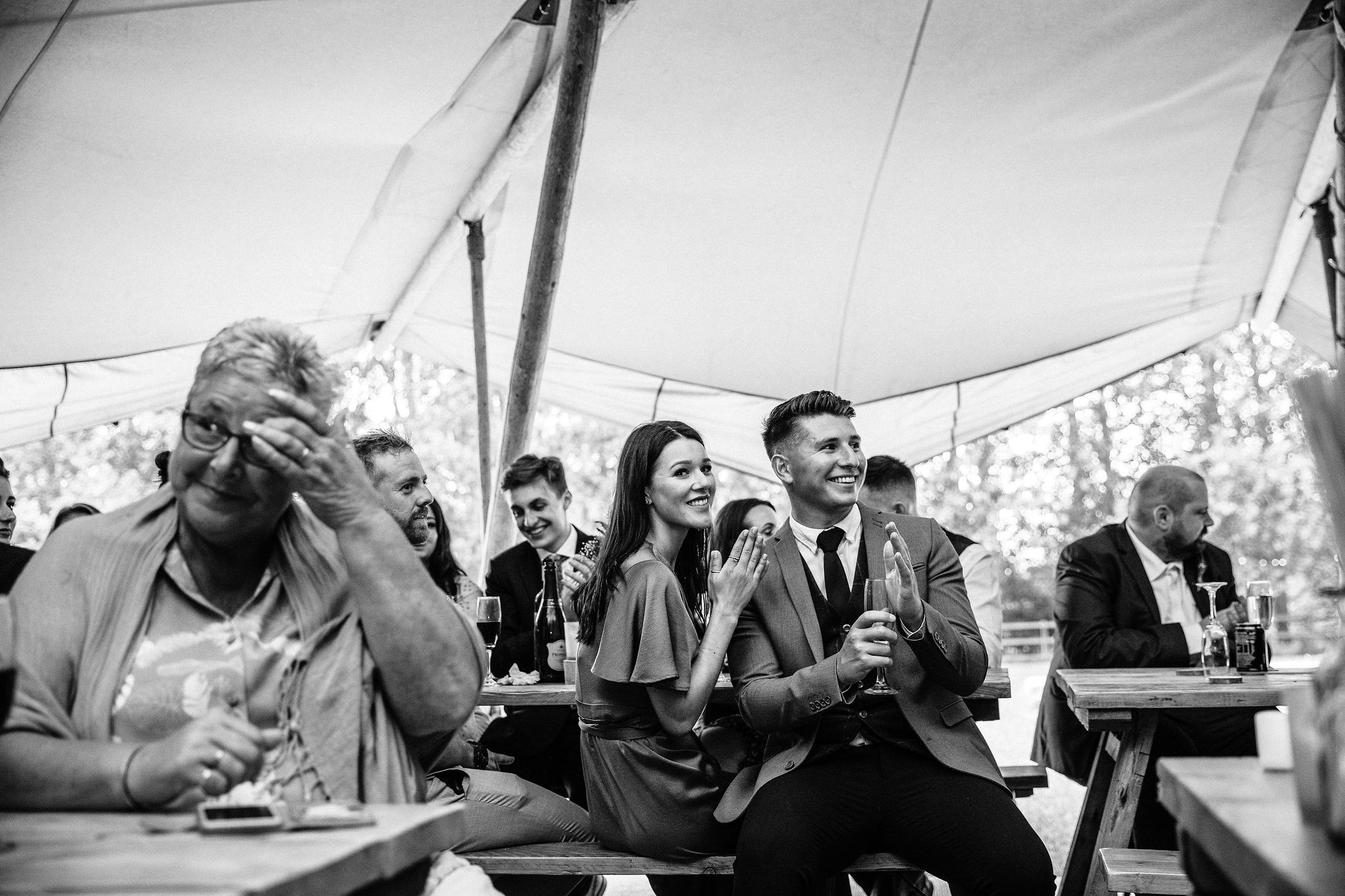 Guests enjoying the wedding speeches