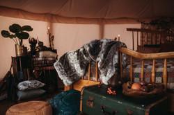Inside wedding yurt