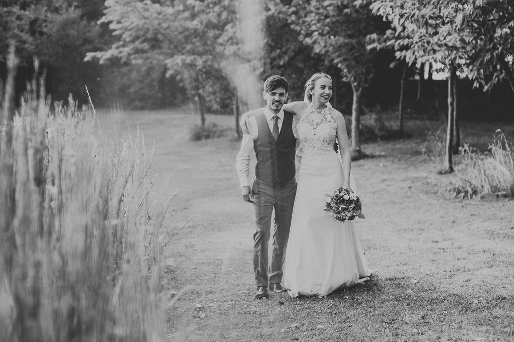 Bride and Groom near lake