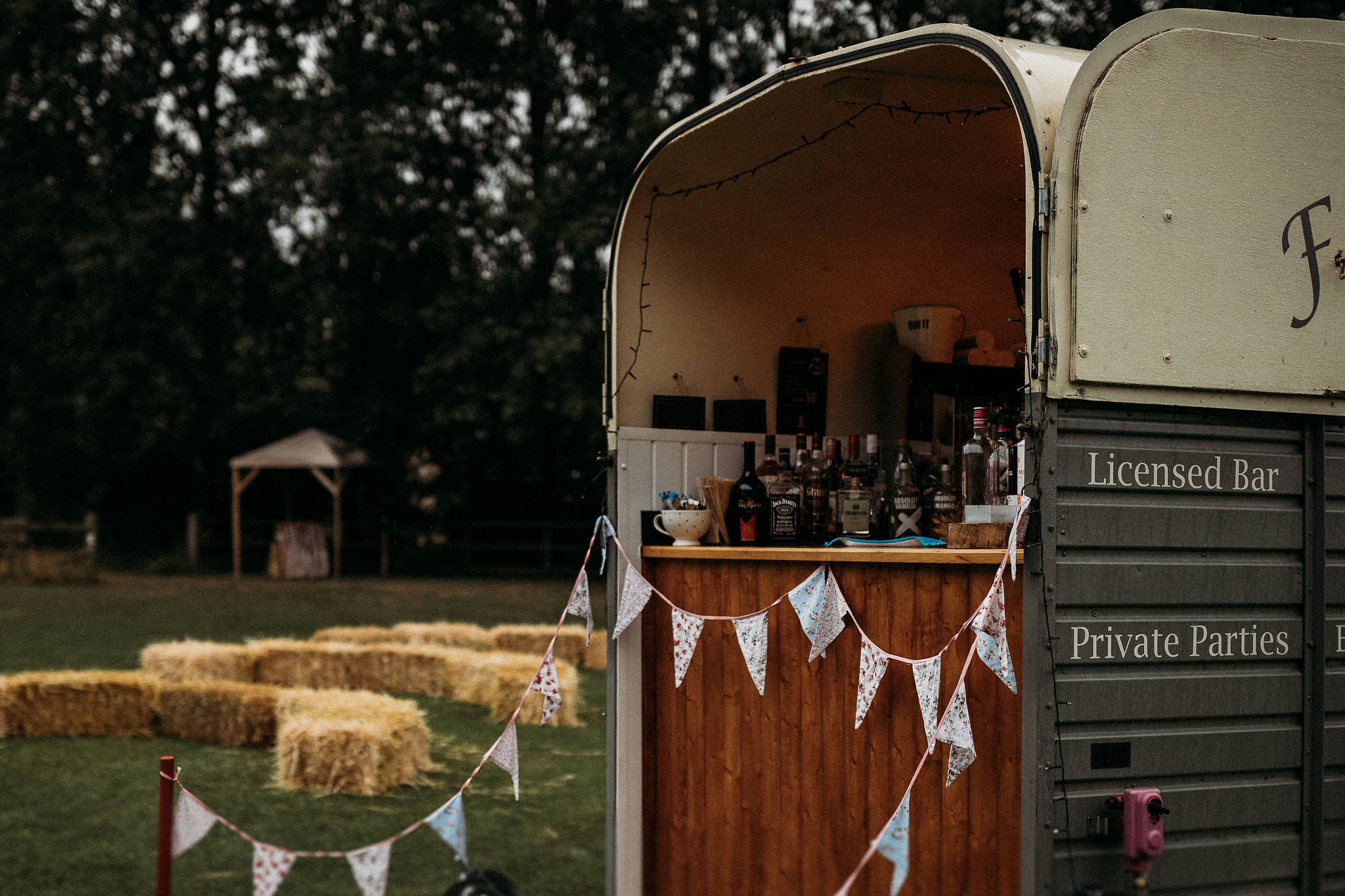 Cocktail bar at outdoor wedding