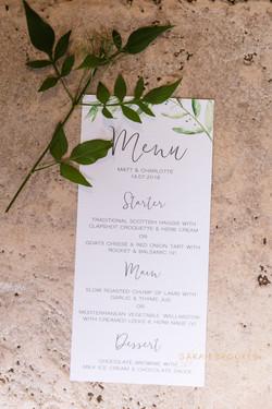 Natural wedding menu