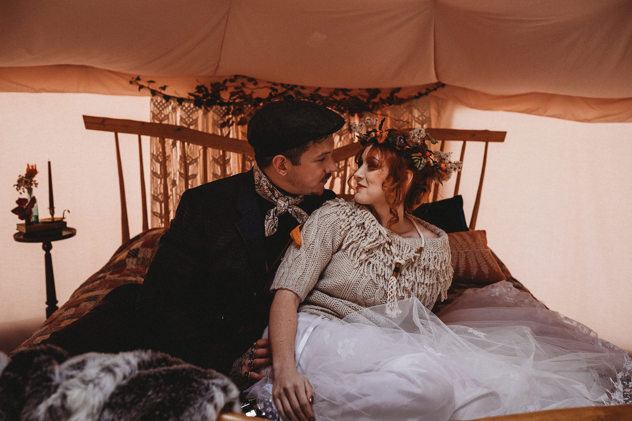 Bride and Groom in wedding yurt