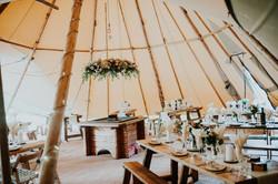 Inside wedding tipi