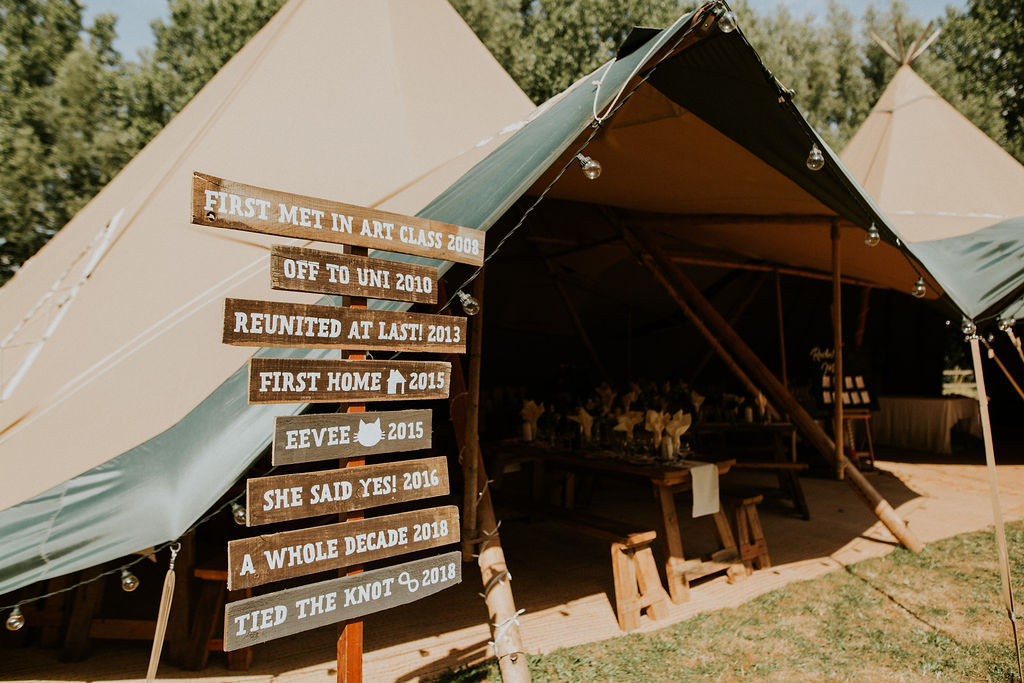 Wedding tipi entrance