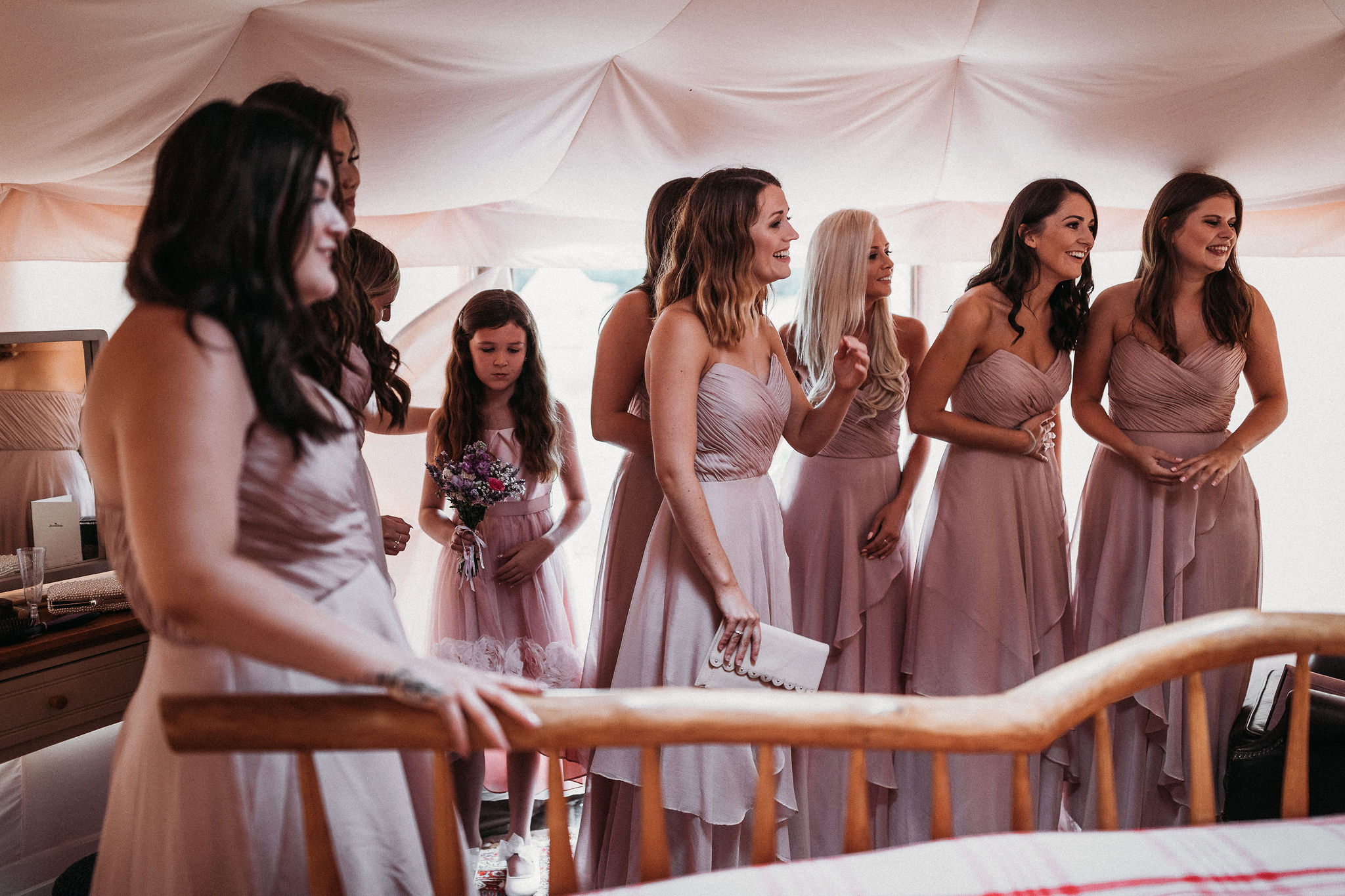 Bridesmaids in wedding yurt