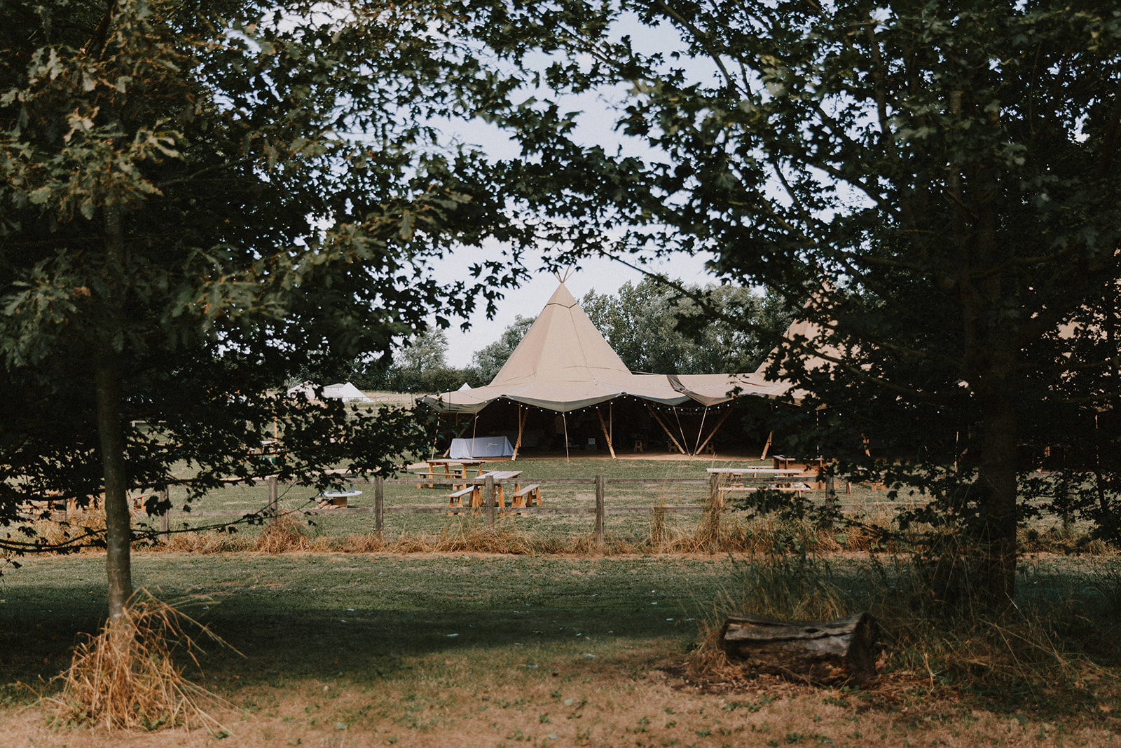 Outdoor wedding venue with tipi