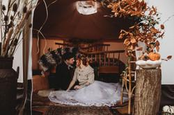 Bride and Groom autumnal wedding