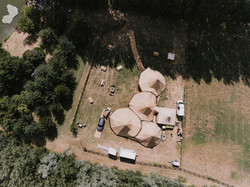 Aerial view of wedding tipi
