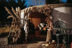 Entrance to wedding yurt