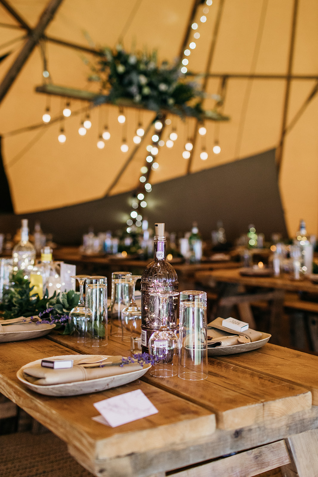 Table arrangement in wedding tipi