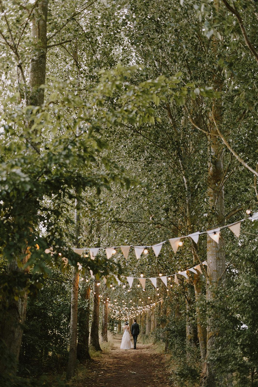 Tree lined bridal walkway