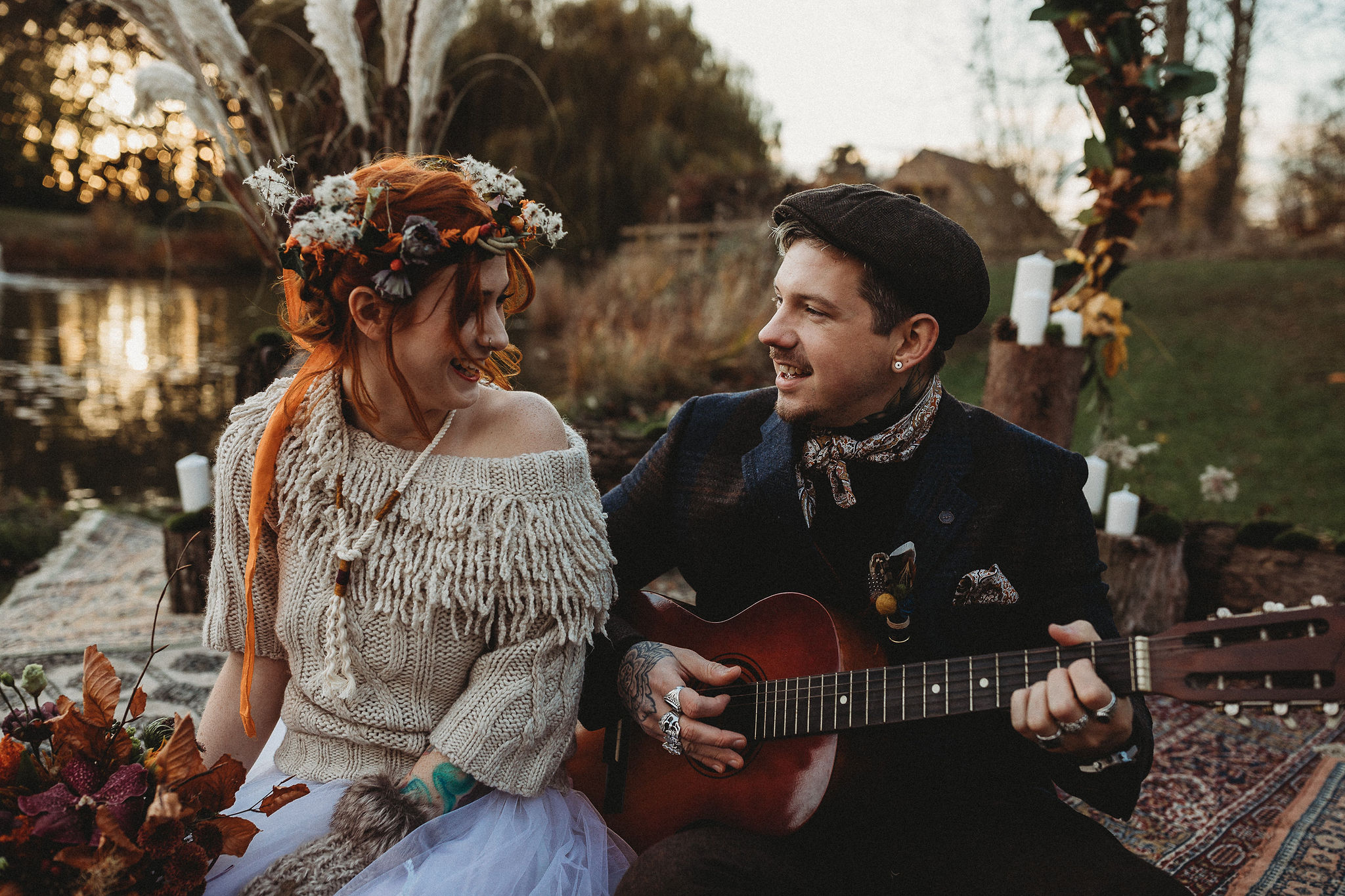 Bride and Groom with guitar