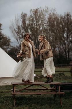 Brides in campsite