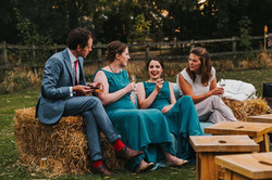 Wedding Guests on Straw Bales