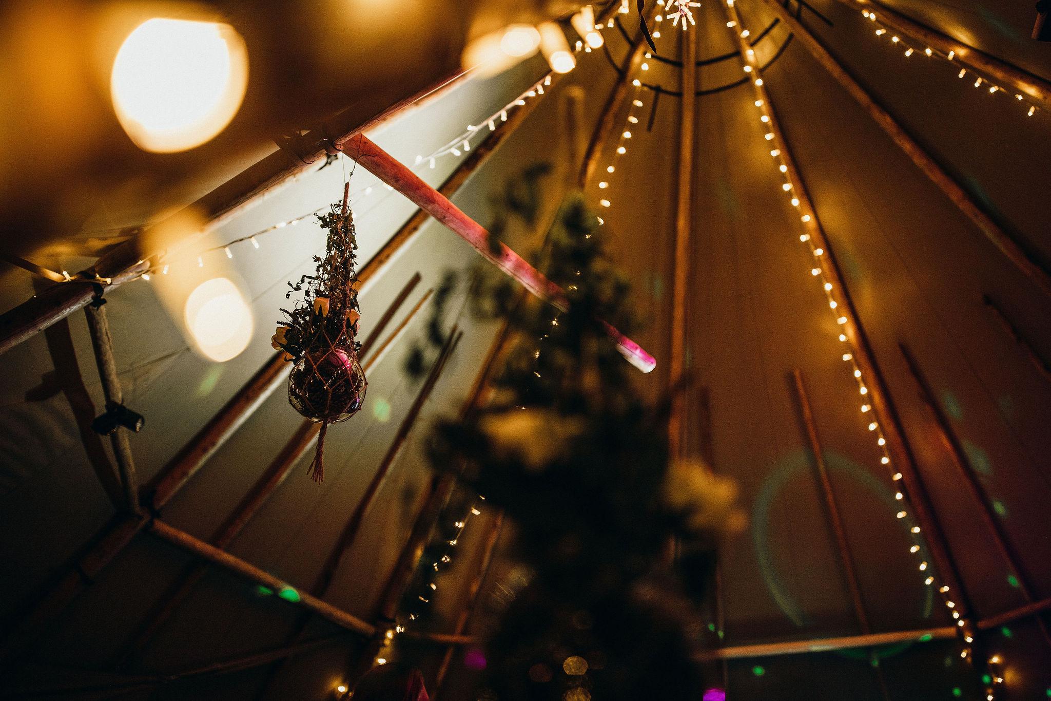 Lights in wedding tipi