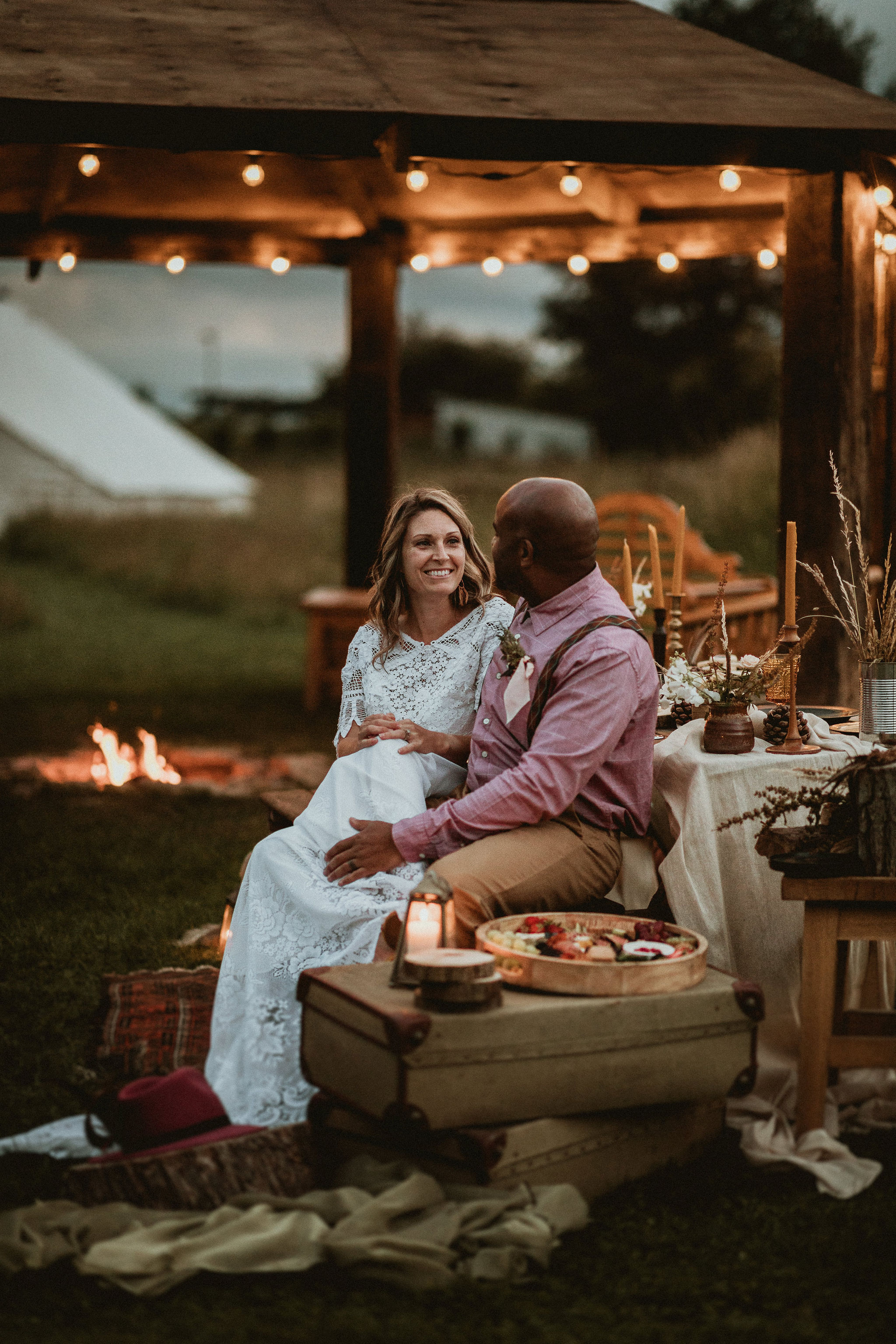 Bride and Groom by the Firepit