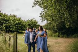 Bridesmaids at outdoor wedding